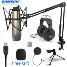 Samson c01u pro usb studio hypercardiod microfone monitoramento em tempo real grande diafragma condensador microfone plug & play suporte