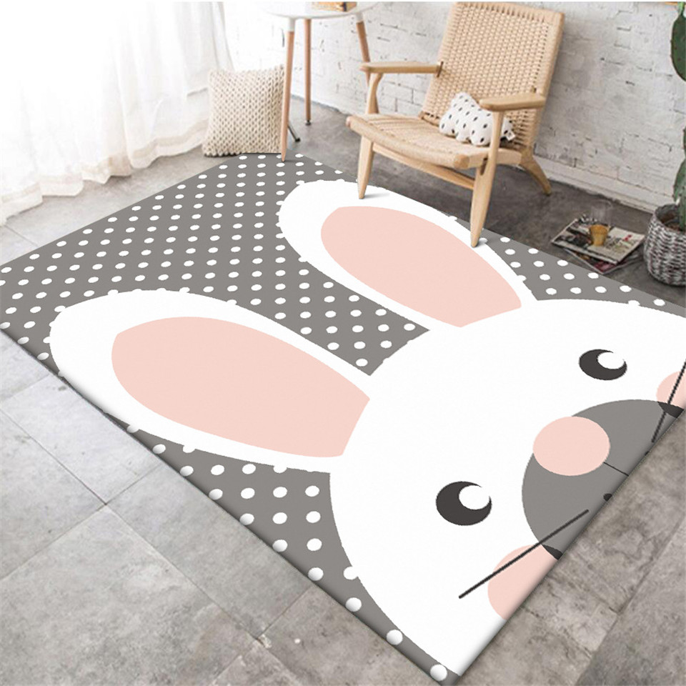 Korean Style Cartoon Rabbit Grey White Wave Point Carpet For Kids Bedroom Girls Room Carpet Non-slip Kitchen Mat Rugs