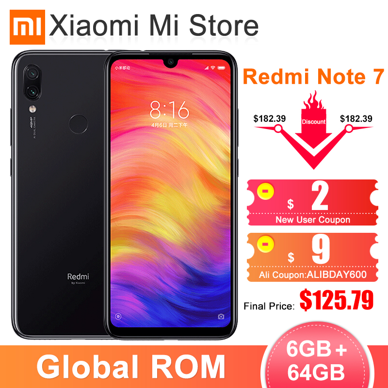 Xiaomi Redmi Note 7 6GB 64GB GSM/LTE/WCDMA Quick Charge 4.0 Bluetooth 5.0 Octa Core Fingerprint Recognition title=
