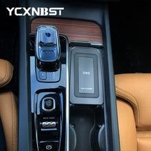 Carro qi carregador sem fio para volvo xc90 s90 v90 xc60 v60 c60 2018 2019 2020 placa de carregamento sem fio acessórios do carregador telefone 10w