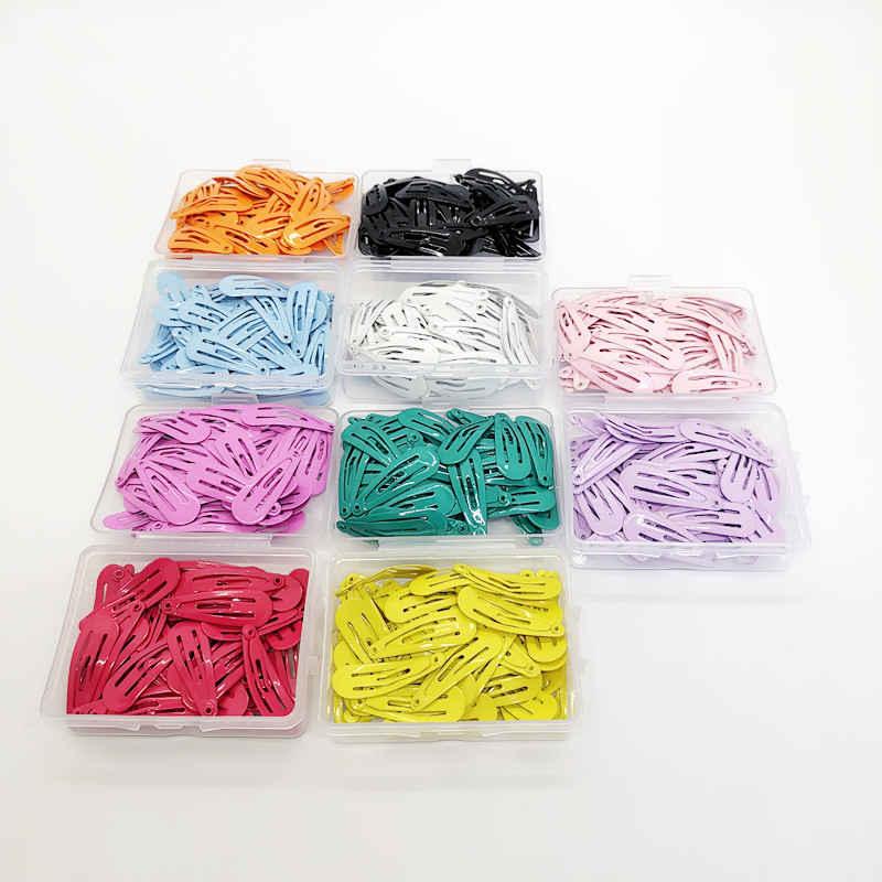 Korean Fashion 50Pcs/Set Solid Candy Color Hair Clip Dripping Hairpin 3cm Barrette Headdress Box Hairclip Girls Hair Accessories
