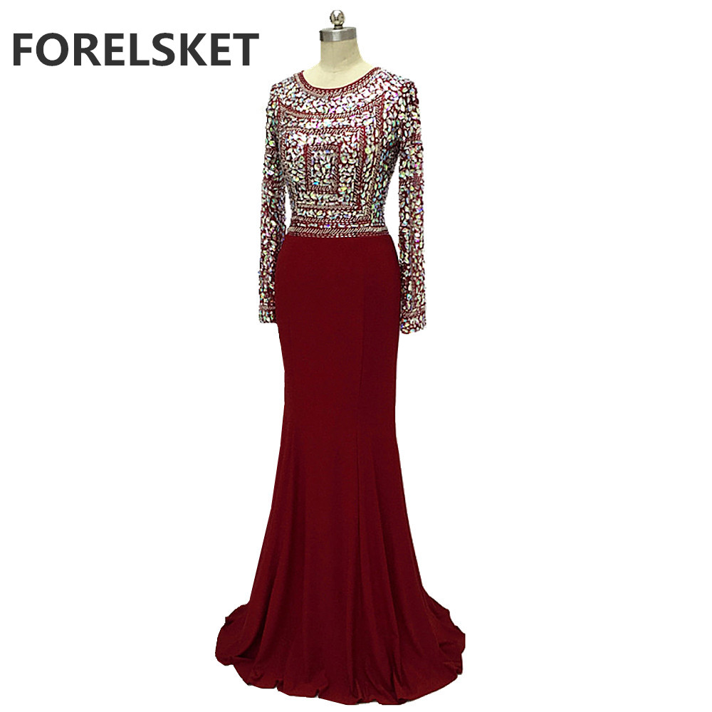 O-Neck Beading Jersey Mermaid Prom Dresses Long Sleeve 2020 Illusion Crystal Burgundy Spandex Sequined Formal Evening Party Gown