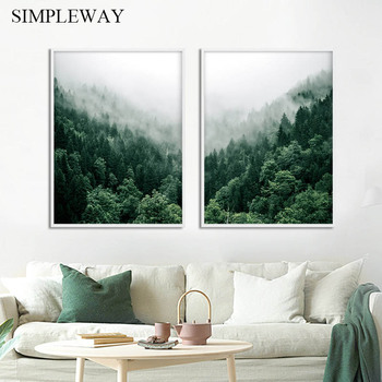 Foggy Forest Wall Art Canvas Painting Scandinavian Poster and Print Nature Landscape Nordic Decoration Picture Modern Home Decor dancing butterfly abstract canvas painting wall art poster and print scandinavian decorative picture modern home decoration
