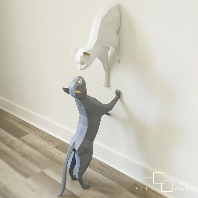 Inswind Nordic Home Cat Wall Decorations Simple Paper Art Handmade DIY Creative Interior Decoration Gift Home Decor Accessories