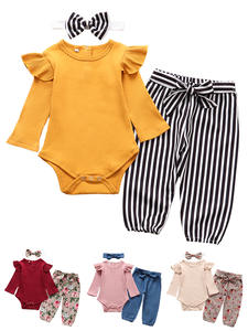 Outfits Pants Headband Romper Tops Infant Clothing Long-Sleeve Newborn Baby-Girl Autumn