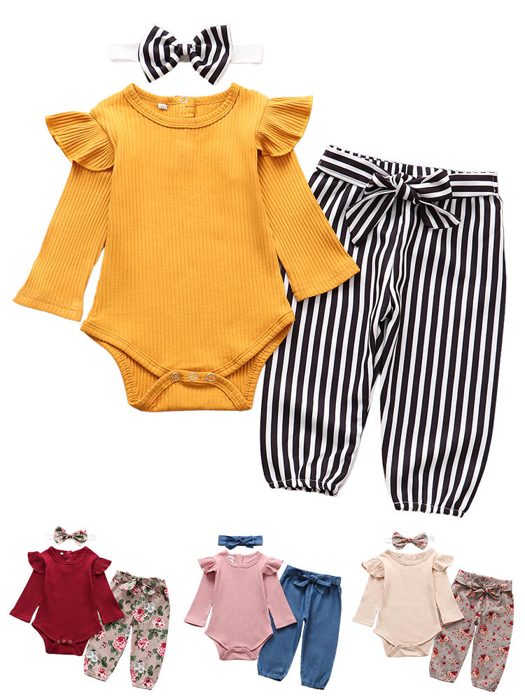 Outfits Pants Headband Romper Infant Clothing Long-Sleeve Newborn Baby-Girl Autumn Solid-Color