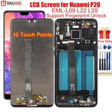 Display für Huawei P20 LCD Display Touch Screen mit Rahmen Fingerprint Entsperren LCD Ersatz auf für Huawei P 20 EML-L09 l22 L29