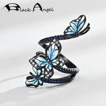 Женское кольцо с синим эмалью три бабочки серебро 925 пробы