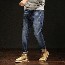Men Jeans Scretched Blue Black Denim Plus Size Oversized Pants 40 42 44 46 48 Distressed Scratched Straight Leg Loose Trousers