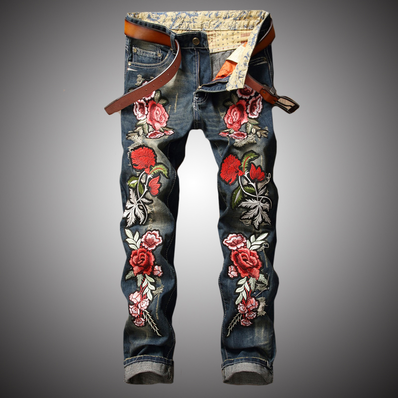 2020 New Streetwear Hip Hop Jeans Men Rose Embroidery Denim Pants Slim Fit Casual Jeans Embroidered Flowers Male Clothes BP007