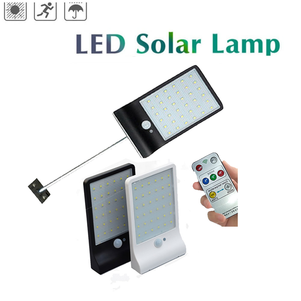 Solar PIR Motion Sensor Outdoor Garden Street Led Solar Panel Powered Lamp 48leds Path Light Security Wall Lighting Remote Contr