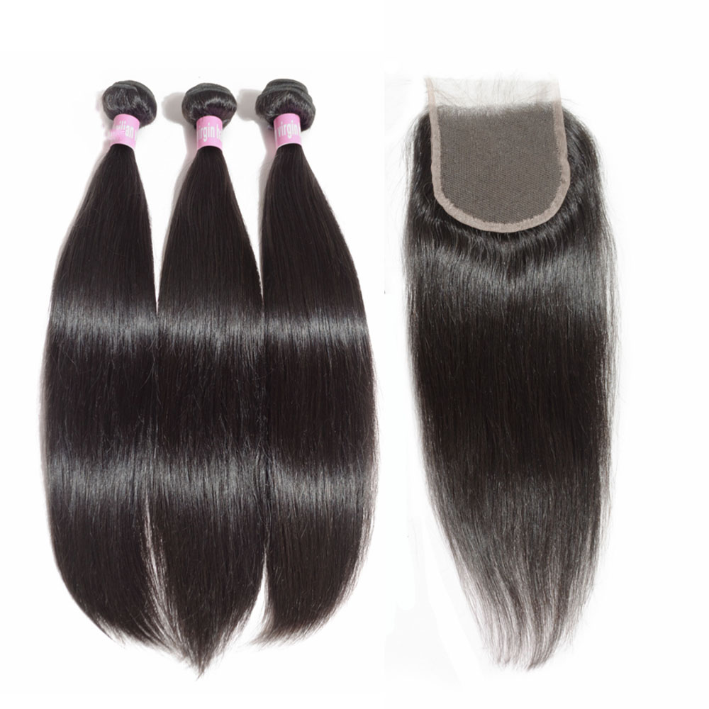 JayMay Peruvian Straight Bundles With Closure 5X5 Lace Closure With Human Hair Bundles Virgin Hair 6X6 Closure With Bundles