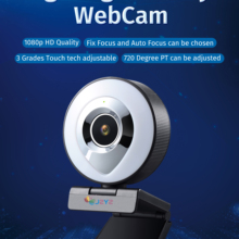 Web Camera Auto Focus Ring Beautify Fill-in Lighting Video Webcam HD 1080P Live Broadcast  Mic USB 3 Grades Touch  Brightness