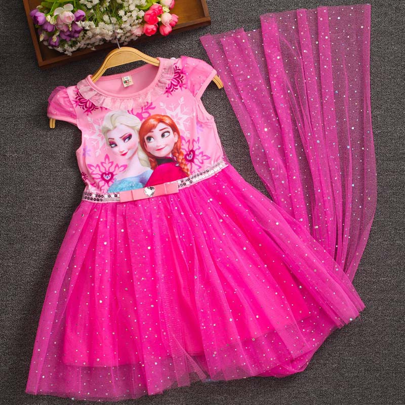 2020 Elsa Dress Princess Girl Dresses Costumes For Children Fancy Party Anna Dress Role-play Carnival Baby Girls Clothes 3-10T