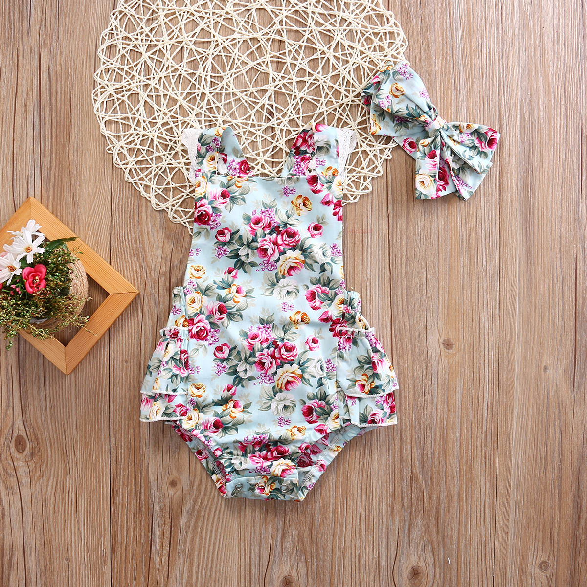 Emmababy Newborn Baby Girl Clothes Summer Sleeveless Flower Print Ruffle Romper Jumpsuit Headband 2Pcs Outfits Sunsuit Clothes