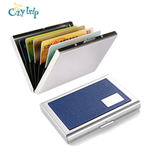 RFID Credit Card Holder Protector Travel Stainless Steel Credit Card Wallet Slim Leather ID Card Case for Women or Men