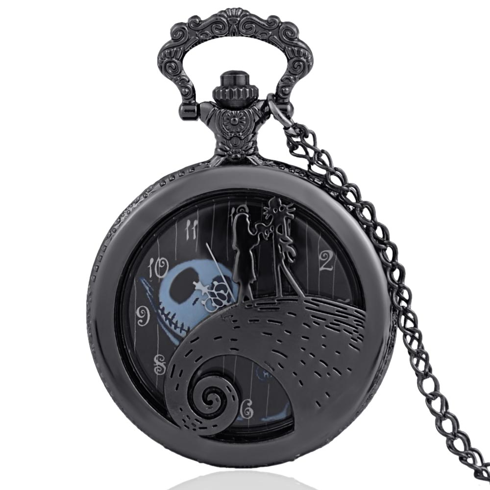 The Nightmare Before Christmas Jack Skellington Tim Burton Movie Kid Toys Watches Fashion Black Quarzt Pocket Watch Gifts