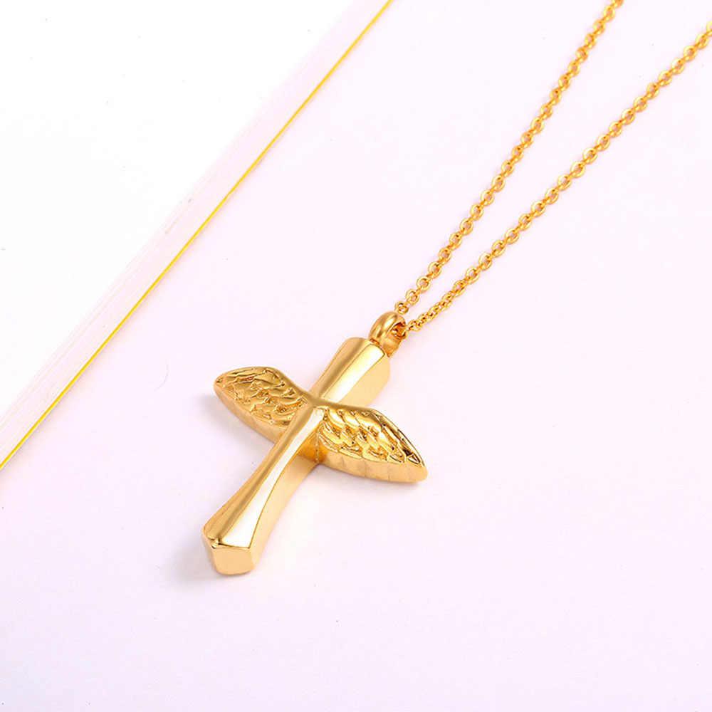 天使の羽クロスペンダントネックレス葬儀灰ホルダーメモリアルネックレス女性男性セレモニージュエリー
