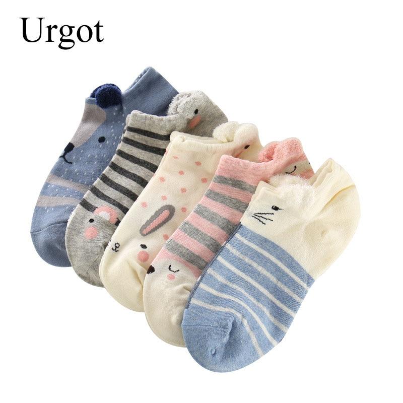 5 Pairs Women Ankle Socks Lovely Funny Cartoon Stereoscopic Animals Ear Plush Boat Sock Comfort Women Cute Girls Art Socks Meias