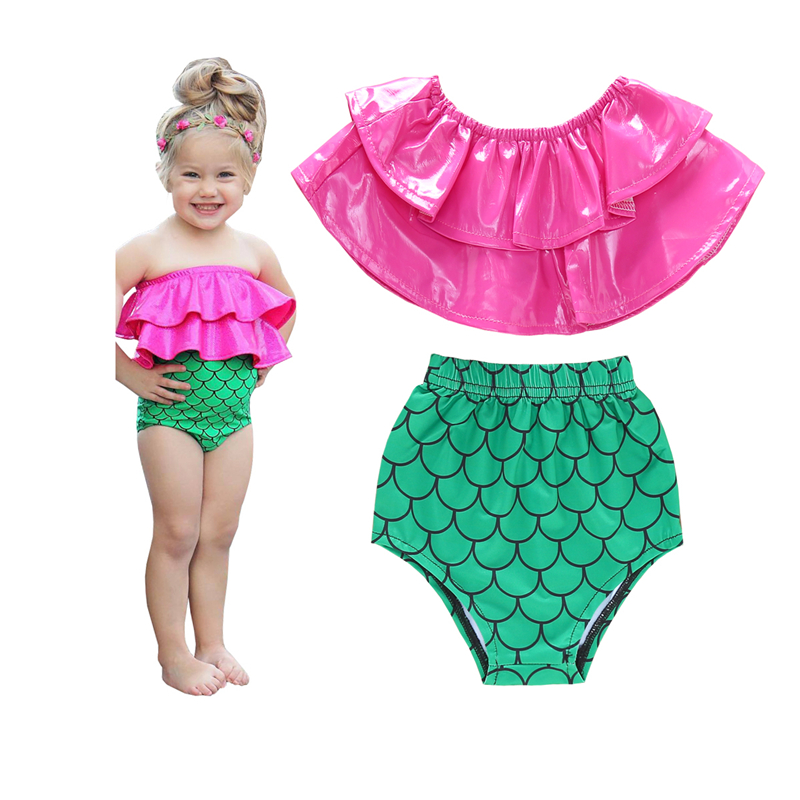 0 3T Baby Girls Mermaid Ruffle Bikini Set Swimwear Little Girls Swimsuit Infant Bathing Suit Summer Beach Swimming Costume in Clothing Sets from Mother Kids