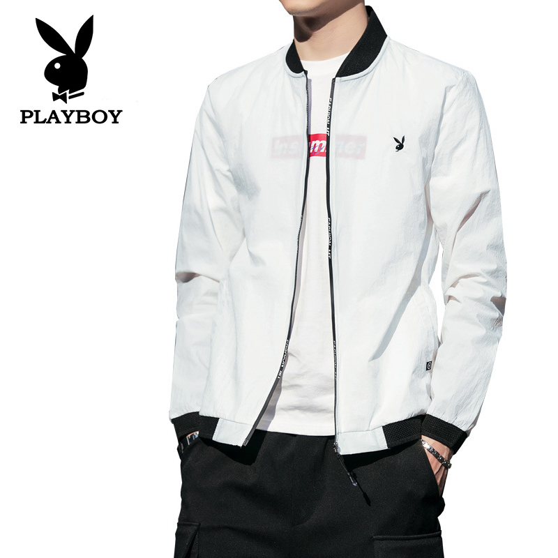 Playboy Men's Summer Sun Protection Zipper Clothing Breathable Jacket Ultra-thin Slim Fashion Jacket Sports Baseball Clothes