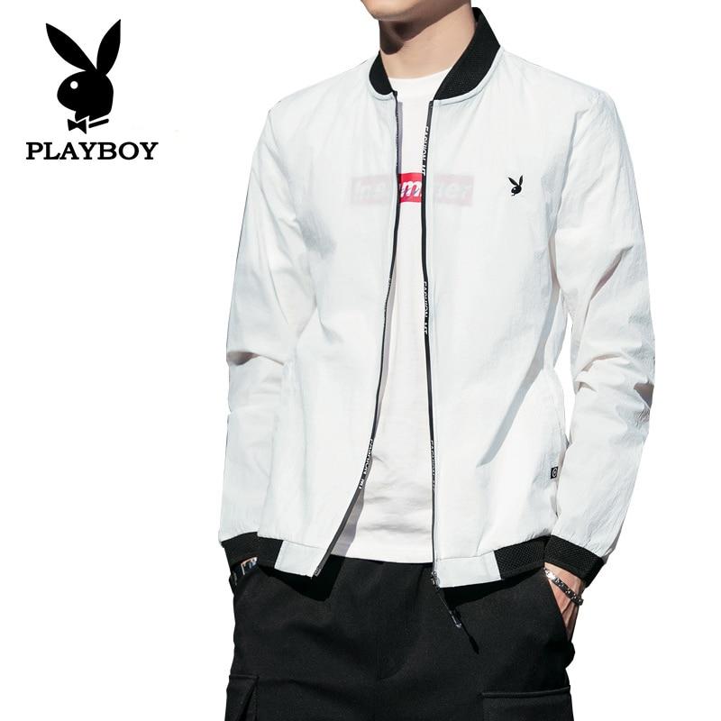 Playboy Men's Summer Sun Protection Zipper Clothing Breathable Jacket Ultra-thin Slim Fashion Jacket Sports Baseball Clothes