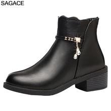 Обувь; женские короткие ботиночки из искусственной кожи на плоской подошве; ботильоны для женщин на квадратном каблуке со стразами; обувь с круглым носком; bota zapatos de mujer