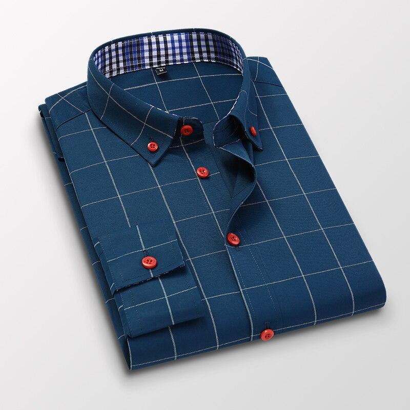 Handsome Fashion Men Shirts Casual Long Sleeved Plaid Shirt Regular Fit Male Blouse 4XL 5XL 9