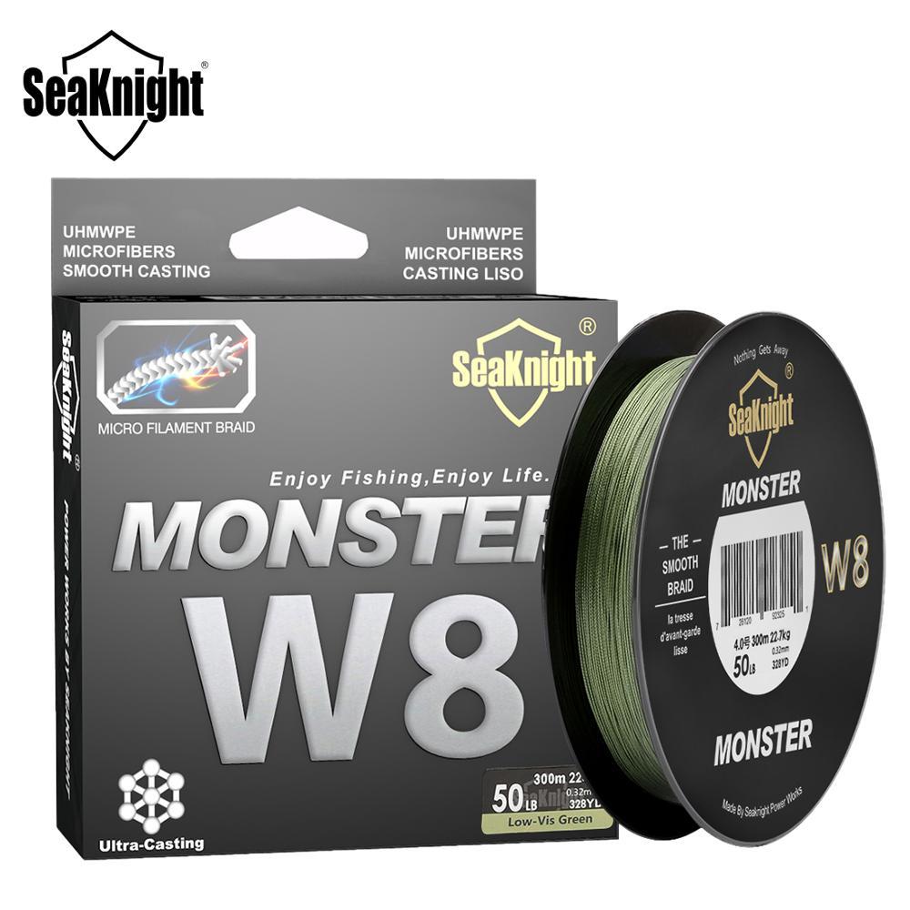Seaknight monster w8 linha trançada de pesca, 150 m, 300 m, 500 m, 8 linhas, multifilamento, linha pe 15 20 30 40 50 80 100lb