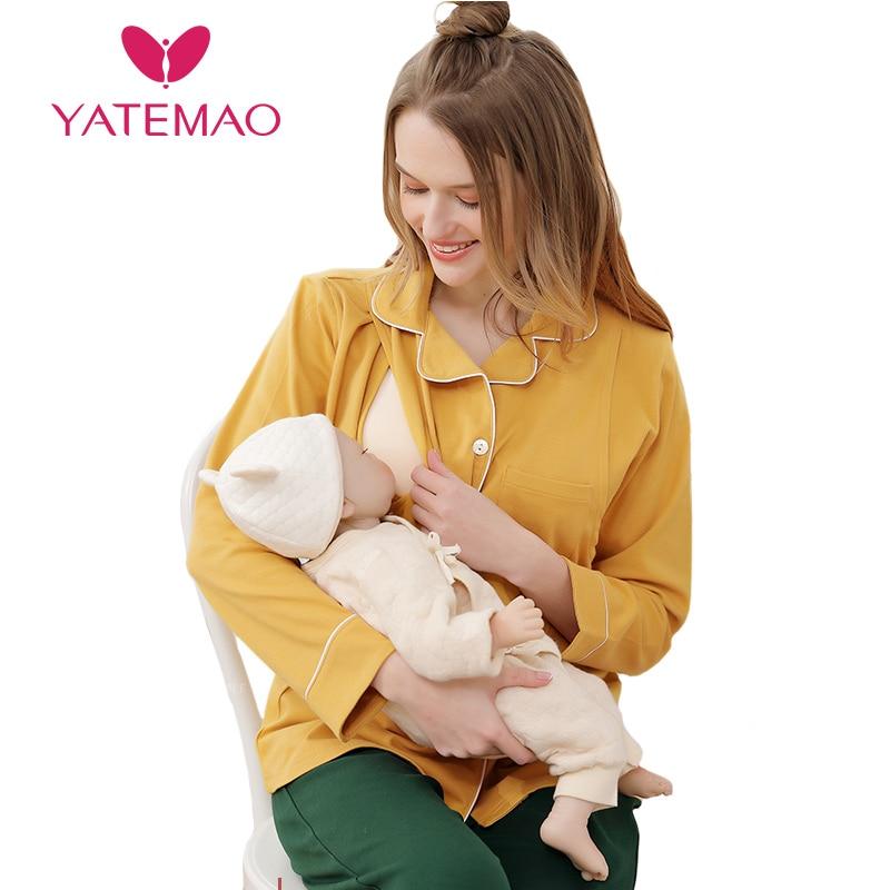YATEMAO New Fashion Maternity Pajyma Maternity Nursing Clothes Pregnancy Clothing Soft Easily Breastfeed Cotton Long Sleeve