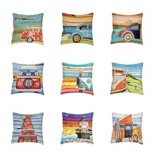 Cartoon Bus Cushion Set High Quality Retro Shell Pad Set Shabby Chic Pillowcase Home Decoration Sofa Mini Bus Pillowcase