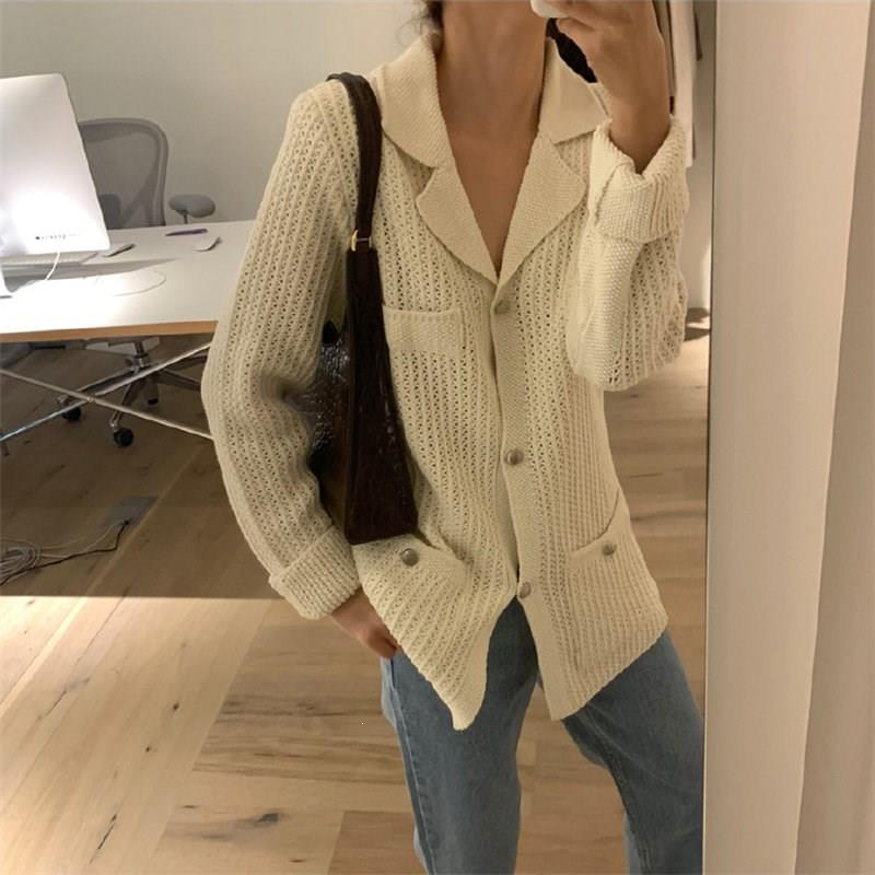 Women Loose Cardigans Warm Autumn Streetwear Brief Chic Pockets Soft Casual Knitted Sweaters