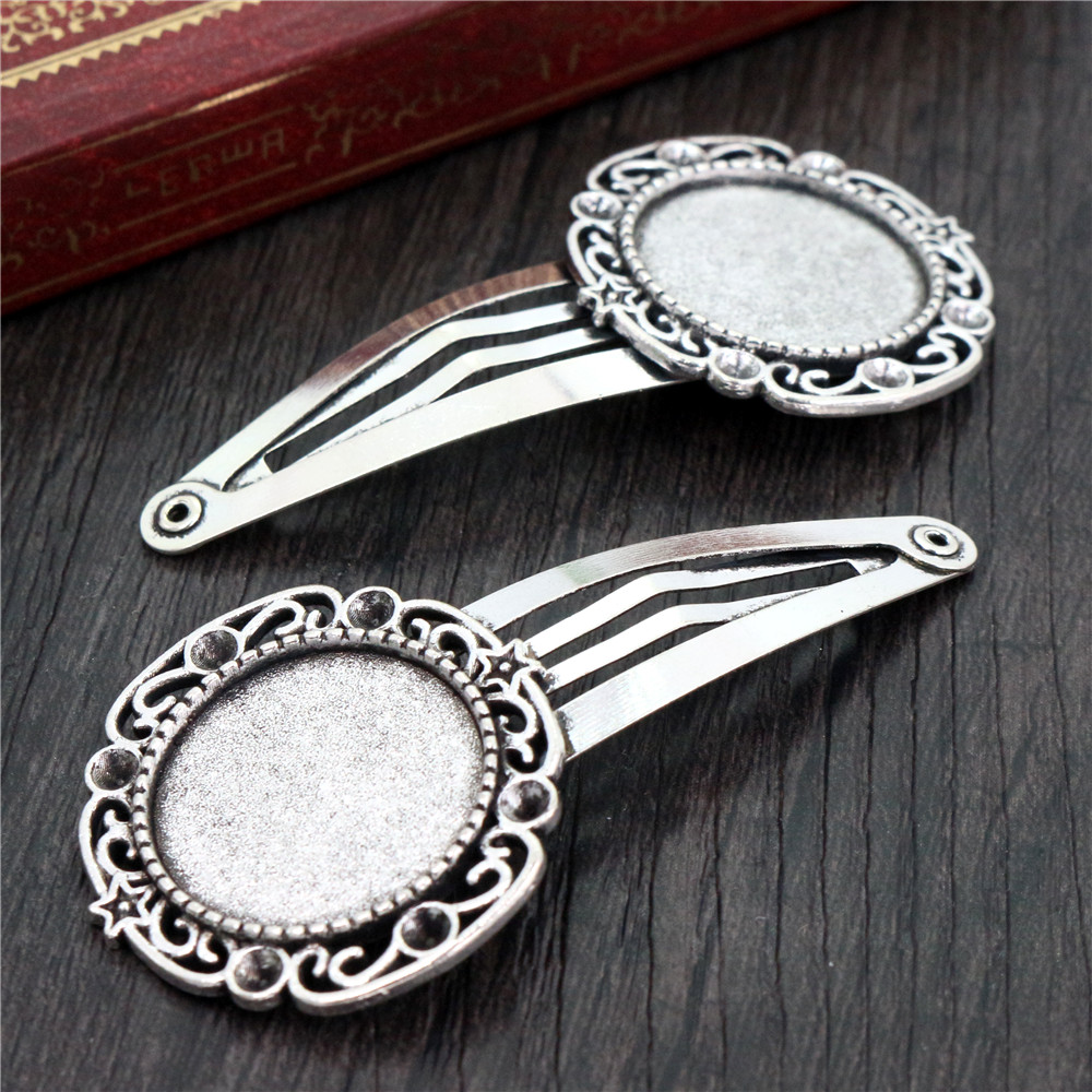 20mm 5pcs High Quality Antique Silver Plated Copper Material Hairpin Hair Clips Hairpin Base Setting Cabochon Cameo  J5-14