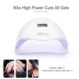 Image 5 - Светодиодная УФ лампа для ногтей, Сушилка для ногтей 80 Вт для всех видов гель лака с таймером 10s/30s/60s/99s, Маникюрный Инструмент, гелевая лампа, 2019