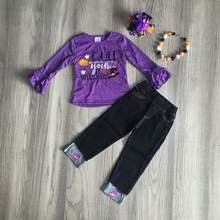 baby Girls Fall fall witch ourfit girls halloween outfits girl purple raglan girl jeans set(China)