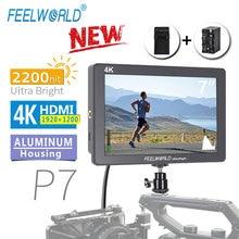 FEELWORLD P7 7 Inç IPS 2200nit Ultra Parlak Kamera alan monitörü 4K HDMI DSLR Monitör Alüminyum Gövde Pil DC çıkış