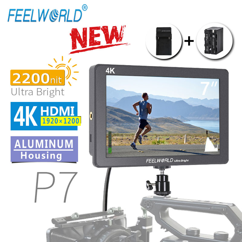 FEELWORLD P7 7 Inch IPS 2200nit Ultra Bright Camera Field Monitor 4K HDMI DSLR Monitor Aluminum Housing With Battery DC Output