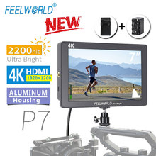 Feelworld p7 7 인치 ips 2200nit 울트라 브라이트 카메라 필드 모니터 4 k hdmi dslr 모니터 배터리 dc 출력이있는 알루미늄 하우징