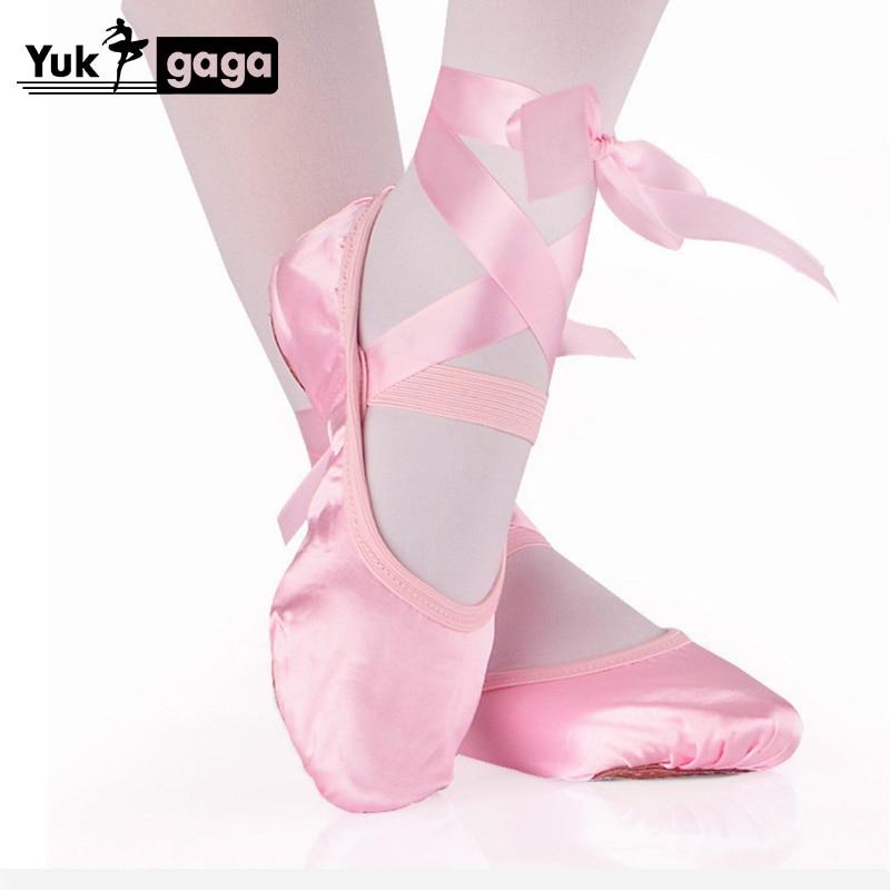 Dança de balé sapatos de dança de seda pointe com fita para crianças meninas das crianças apartamentos macios sapatos confortáveis chinelos de fitness