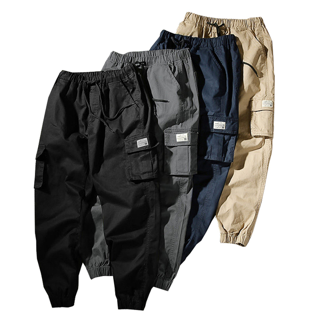 Mens Joggers Pants Cargo Pants Male Jogger 2020 Spring Casual Pants Men's Trousers With Pockets Drawstring Sweatpants Slacks 1