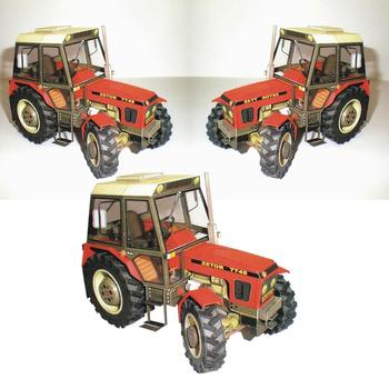 1:32 DIY Czech Zetor 7745-7211 Tractor Card Model Building Agricultural Car Educational Machinery Toy Manual Sets Model X9K6 image