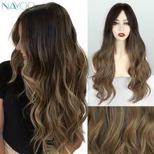 Nayoo Hair Long Dark Brown Wavy Synthetic Wigs Ombre Brown Long Wavy Dark Roots Cosplay Wig For Women Party Hair Heat Resistant emmor long dark brown ombre wavy synthetic hair wigs with bangs high temperature layered fluffy daily wig for women