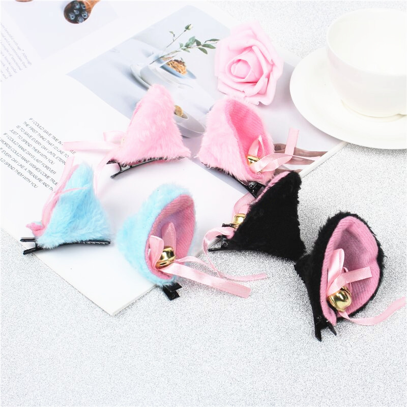 Cat Ears With Bell Hair Clip Cosplay Party Fox Long Fur Costume Hair Clip Halloween Gift Hair Accessory White 4 Colors