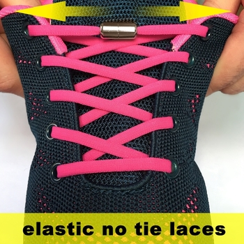 1 Pair Metal Lock Elastic Semicircle Shoe Laces For Kids And Adult Sneakers Shoelace Quick Lazy NO TIE Shoelaces