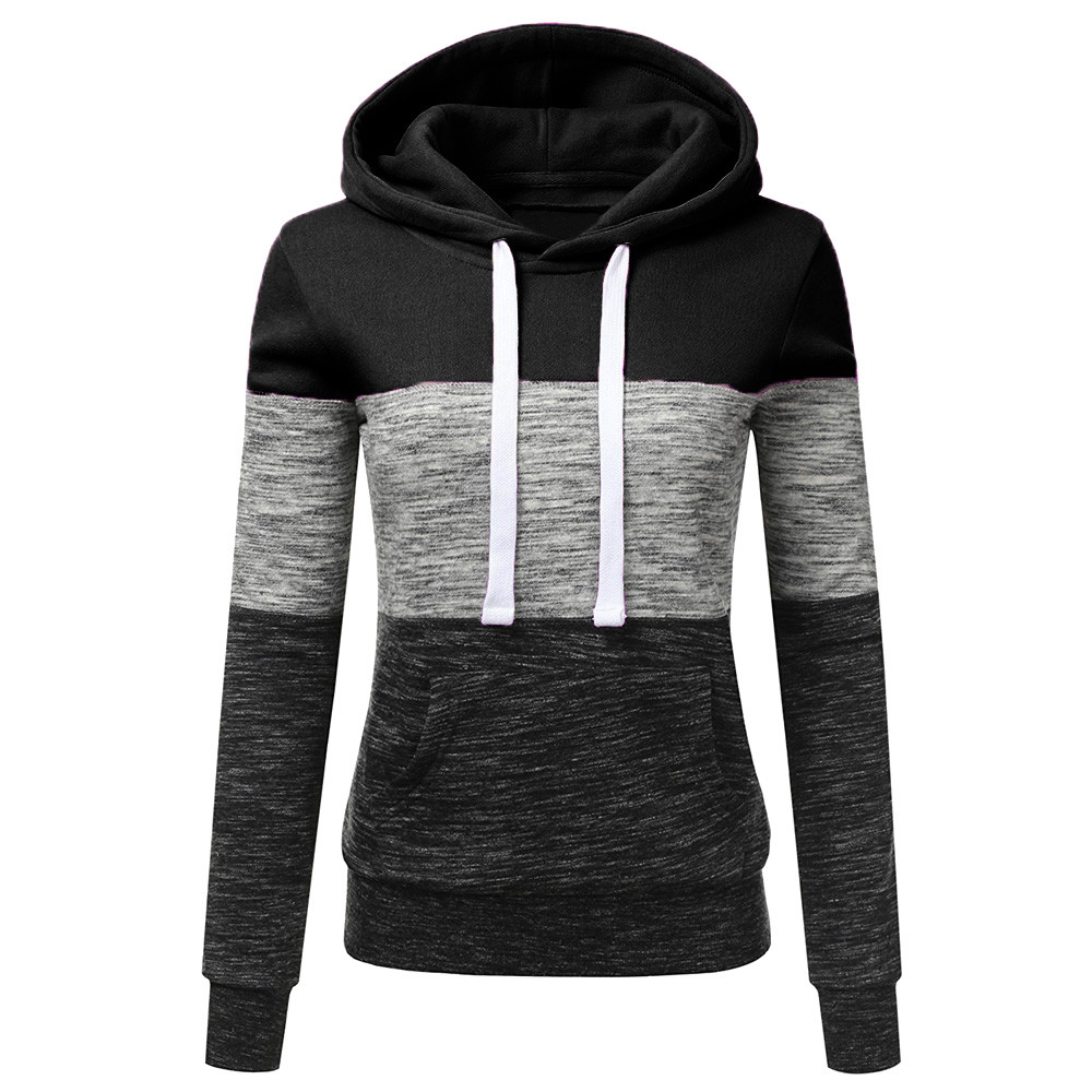 Women Hoodies Ladies Casual Sweatshirt Long Sleeve Splice Pullover Hoodies Stitching Tops dames Hooded Blouse lange mouwen 2020