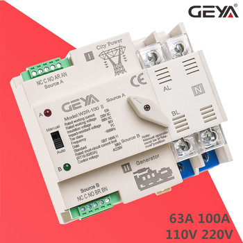 NEW GEYA W2R ATS 2P Automatic Transfer Switch Uninterrupted Power Controller Selector Switches 63A 100A 110V 220V Wire Gift free shipping geya w2r mini ats 4p automatic transfer switch controller electrical type ats max 100a 4pole