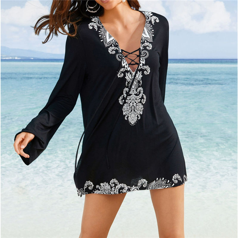2019 Cotton Tunics for Beach Women Swimsuit Cover-ups Woman Swimwear Beach Cover up Beachwear Pareo Mini Dress Saida de Praia