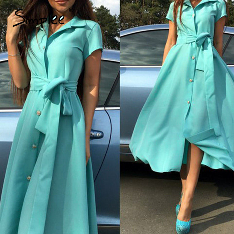 Simplee Elegant Women V-neck Shirt Dress Office Lady Solid Buttons A Line Long Sundress Daily Style Female Work Maxi Dress 2020