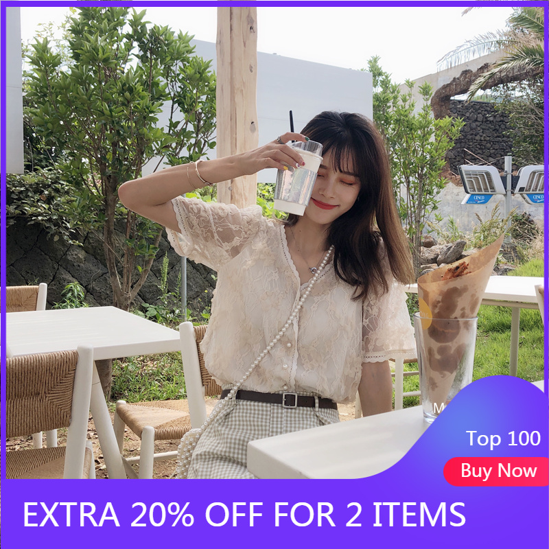 Mishow 2019 Summer Lady Blouse Women Causal Temperament Vneck Short Sleeve Lace Slim Fit Thin Blouse Tops MX19B4765