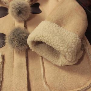 Image 5 - Nieuwe Meisjes Faux Suede Bont Bal Jas Leuke Hooded Fleece Jas Kids Herfst Winter Outfits Kinderen Dikker Kleding Warm Bovenkleding
